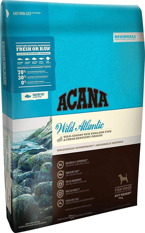 ACANA Regionals Wild Atlantic Dry Dog Food, 25 lb. Bag. (Wild New England Fish & Kentucky Greens)