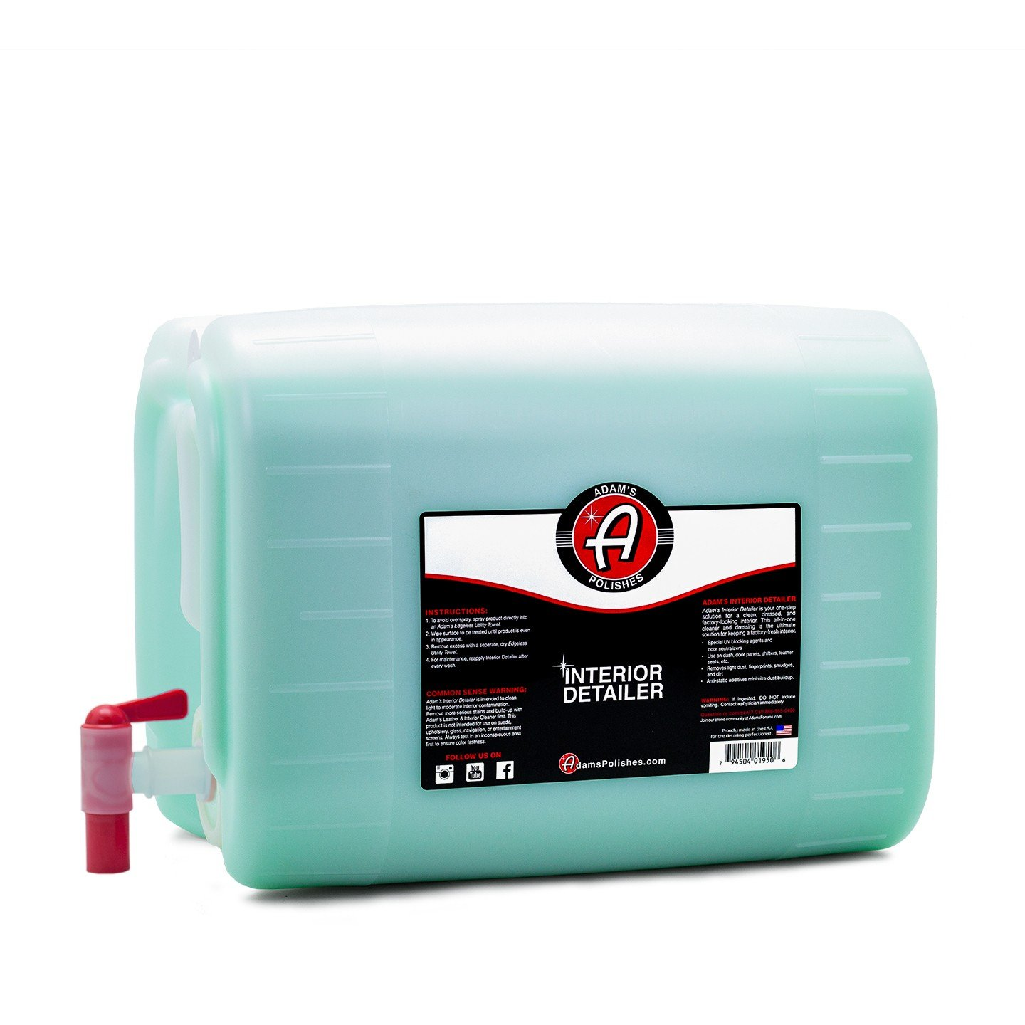Adam's Interior Detailer - Clean and Dress Interior Surfaces in One Easy Step - Odor Neutralizers Kill Unwanted Odors - Anti-Static Formulation Adds UV Protection to Your Entire Interior (5 Gallon)