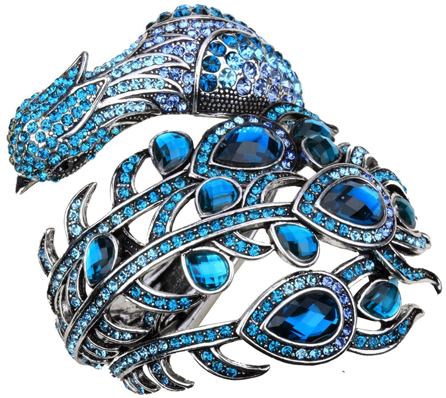 Angel Jewelry Women's Crystal Big Peacock Bangle Bracelet