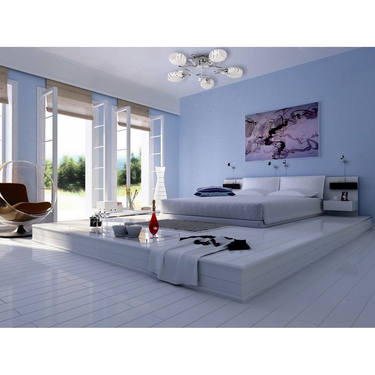 Demarkt Plafonnier Moderne en M/étal Noir Brillant avec 5 Abat-jours en Verre Blanc Mat avec Motif pour Chambre ou Cuisine 5x60W E14