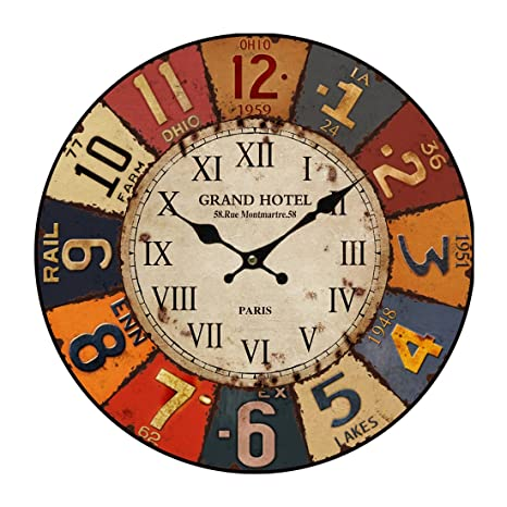 YVSoo Reloj de Pared Vintage 34 cm Reloj de Pared Silencio MDF Arte Reloj Cuarzo Decoracion
