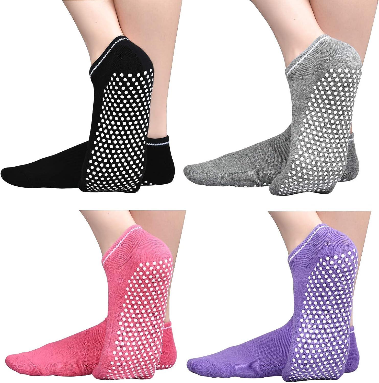 Anti Slip Non Skid Slipper Socks with Grips Sticky Home Hospital Athletic Socks for Adult Women 1-4 Pack