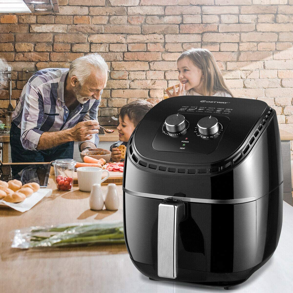 COSTWAY Air Fryer 3.5Qt 1300W Electric Hot Oil-Less Oven Cooker, UL Cretified, Dishwasher Safe, with Smart Time Temperature Control, Non Stick Fry Basket, Auto Shut Off Black