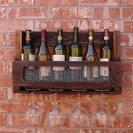 Armario para vinos Botellas de vino montadas en la pared de madera ...