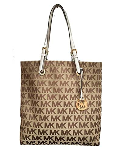 ba4872e5ee94 Michael Kors Signature Jacquard North South Tote in Beige   Ebony   Vanilla