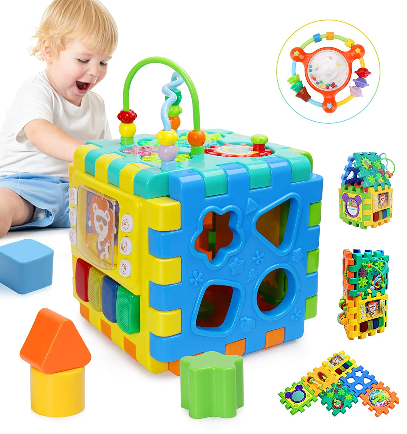 BBLIKE Baby Activity Cube, 6 in 1 Multipurpose Play Center Activity Square Play Cube for Infants & Toddlers Busy Learner Cube with Shapes Maze Music Gears Clock Educational
