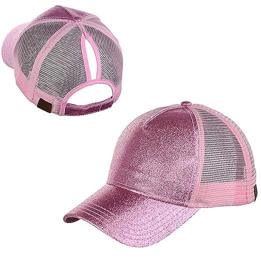 e3d7835cd85910 Kaliste Ponytail Cap High Bun Ponycaps Glitter Mesh Trucker Plain Baseball  Visor Cap Dad Hat with