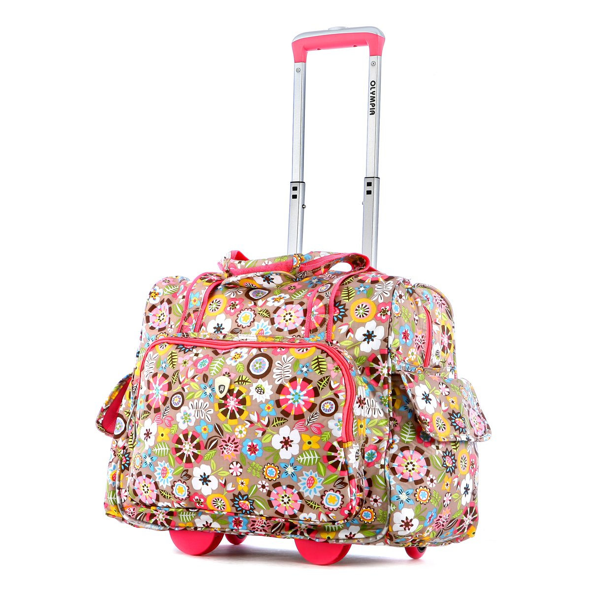 Olympia Deluxe Fashion Rolling Overnighter, Tulip, One Size by Olympia