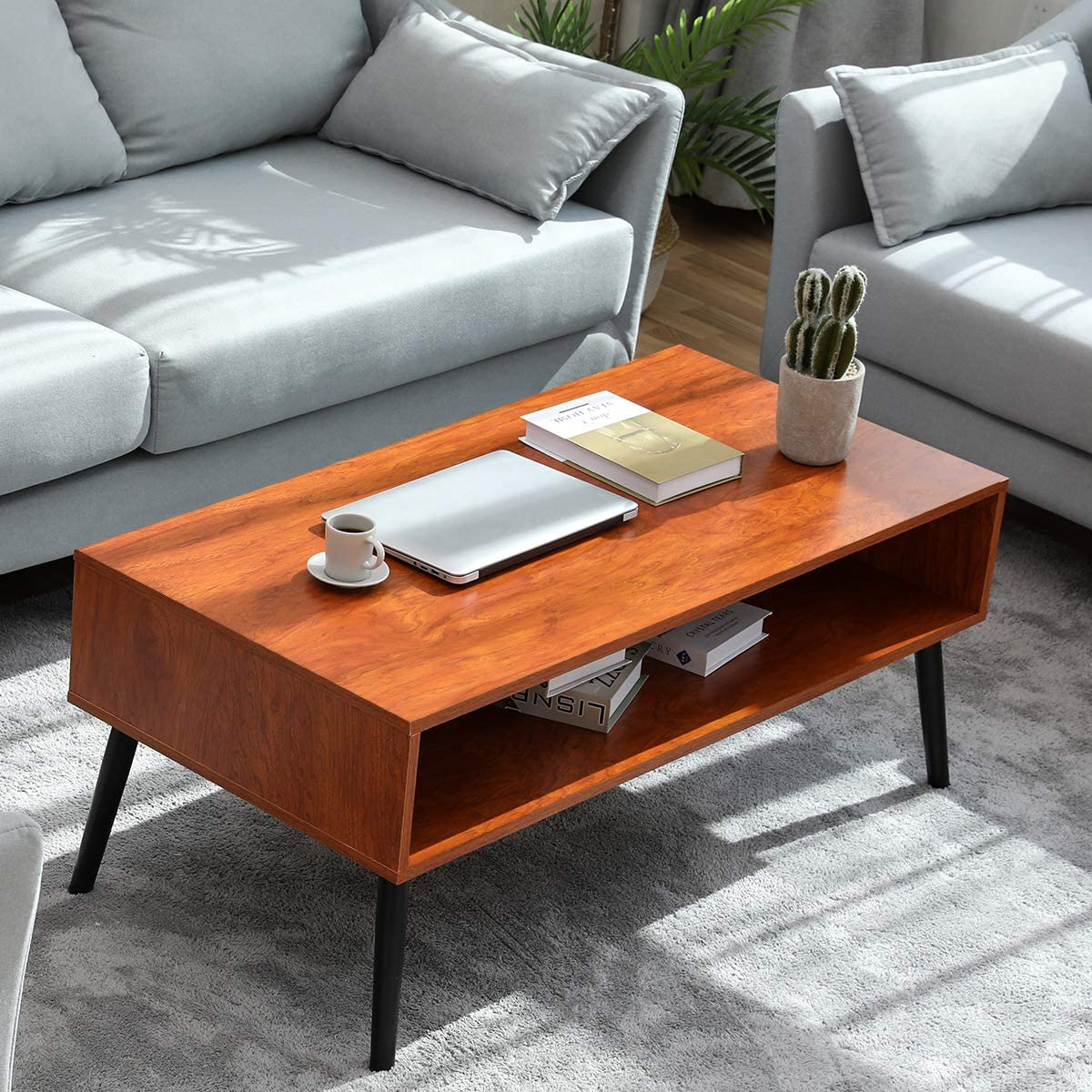 Coffee Table Double Layer, Living Room Table with Storage Shelf 2-Tier Cocktail Table Mid-Century Modern Open Space Design Drawers