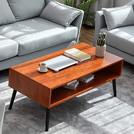 Amazon.com: Coffee Table Double Layer, Living Room Table With Storage Shelf  2-Tier Cocktail Table Mid-Century Modern Open Space Design Drawers: Kitchen  & Dining