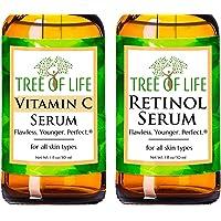 Anti Aging Serum Two-Pack - Vitamin C Serum - Retinol Serum - Anti Aging Serums For Daytime And Nighttime Skincare Regimens - Highly Natural And Organic Anti Wrinkle Serum