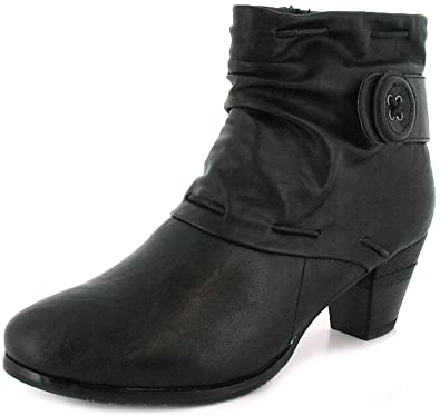 8028525f New Ladies/Womens Black Country Jacks Ankle Boots, Side Button Detail -  Black -