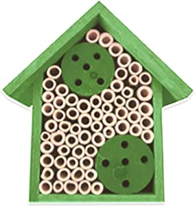 Mason Bee House - Bamboo Tube Bee Hotel for Solitary Bees - Attract More Pollinating Bees to Your Garden by Providing Them with a Bee Home Made from FSC Certified Wood (Medium, Forest Green)