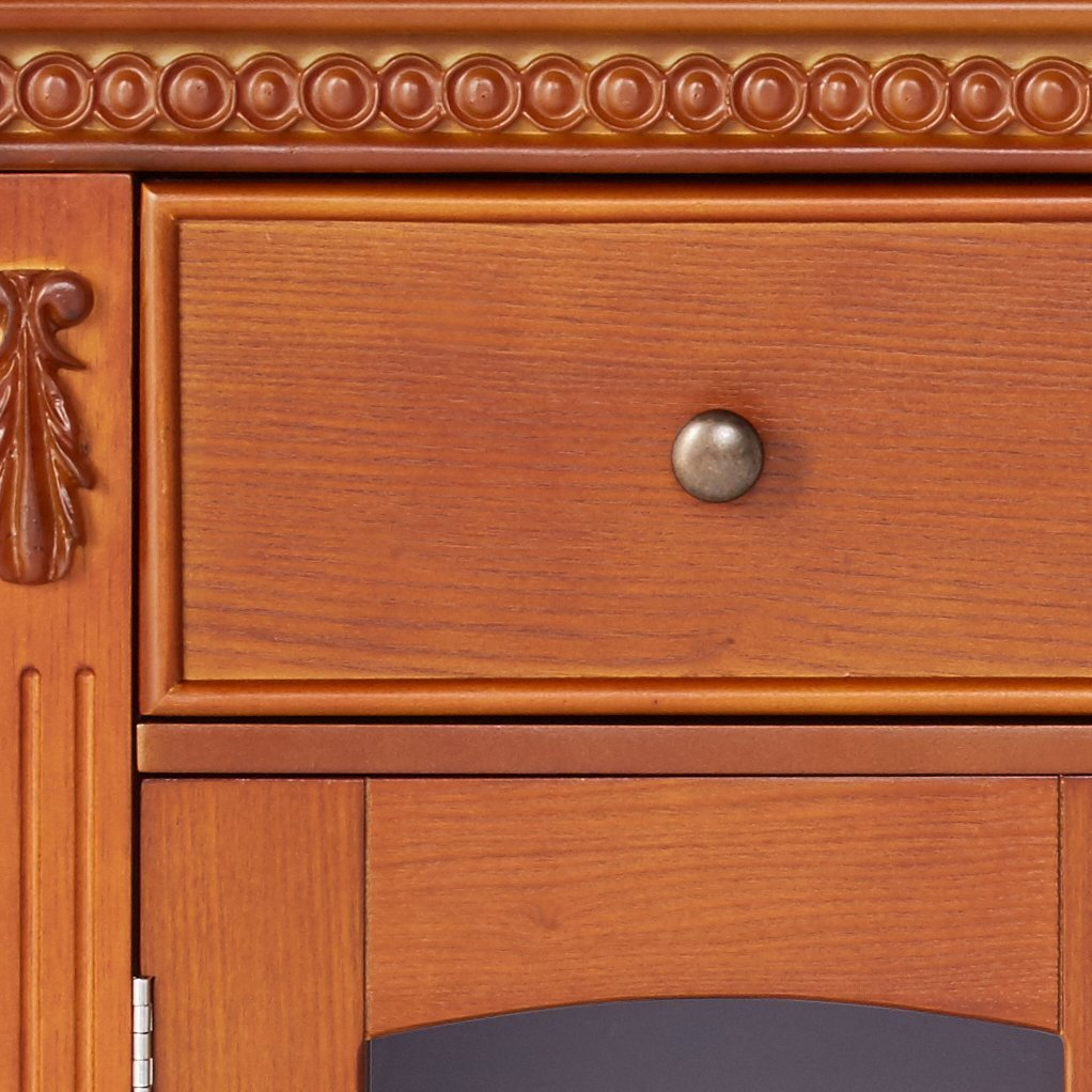 Kings Brand Furniture - Penrose Wood/Glass Sideboard Buffet Cabinet, Walnut by Kings Brand Furniture