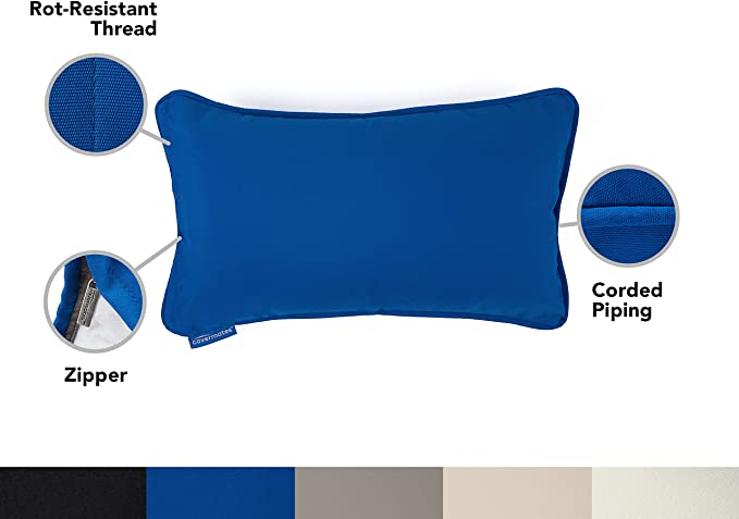 Full Side Zipper Dove Weather Resistant Rot-Resistant Thread 18W x 18H Apsire Covermates 500D Fade Resistant Polyester Outdoor Throw Pillow 2 YR Warranty