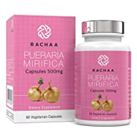 Pueraria Mirifica Capsules 500mg - 100% Pure Powder - Natural Breast & Body Tissue Firming - Menopause Relief - Vaginal and Bone Health 60 Vegetarian Capsules Bottle