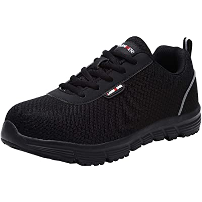 LARNMERN Steel Toe Shoes Women, Safety Shoes Women ESD Lightweight Breathable Work SRC Slip Resistant Static Dissipative Reflective Stripe Sneakers L8038(8 Women, Knit Black): Shoes