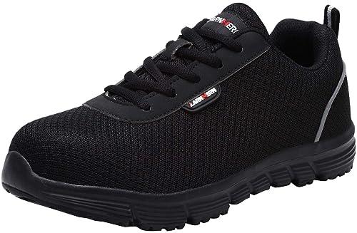 Zapatillas de Seguridad Mujer, LM-8038 SRC Zapatos de Trabajo con Punta de Acero Ultra Liviano Suave y cómodo Transpirable Antideslizante: Amazon.es: ...