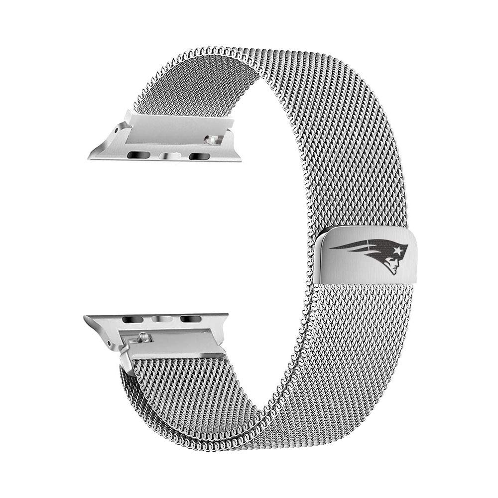 Game Time New England Patriots Stainless Steel Mesh Band Compatible with Apple Watch - 42mm/44mm by Game Time