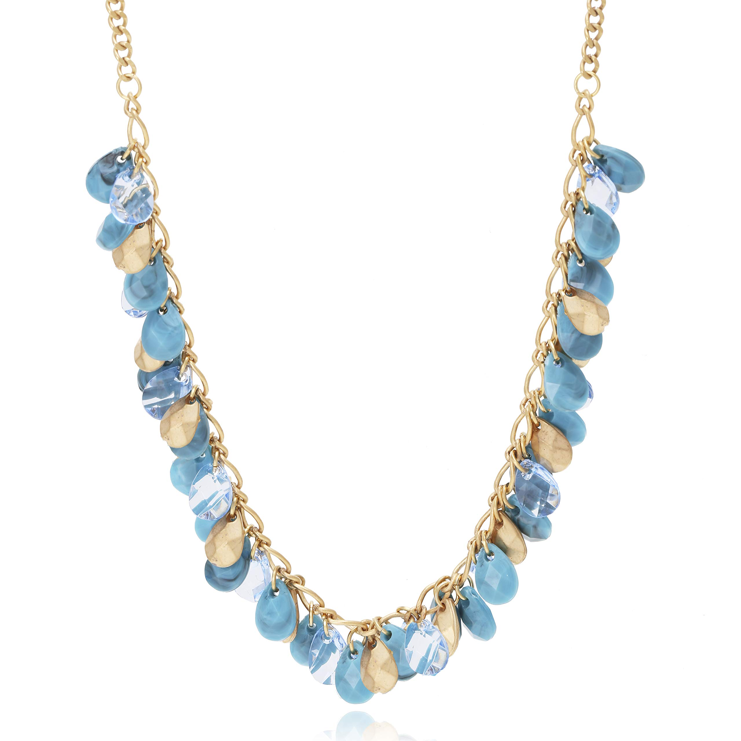 BONALUNA Seeds of Prosperity Multi Layered Tear Drop Beads Statement Necklaces for Woman