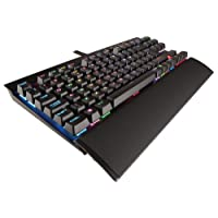Corsair K65 LUX RGB Mechanical Gaming Keyboard (Cherry MX Red Switches, Per Key Multicolour RGB Backlighting, Ten-Keyless Design, Detachable Wrist Rest, UK Layout) - Black