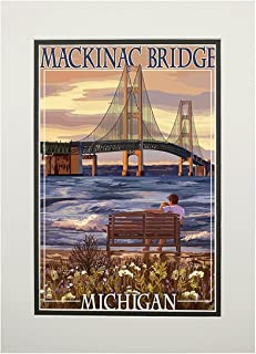 product image for Mackinac, Michigan - Mackinac Bridge and Sunset (11x14 Double-Matted Art Print, Wall Decor Ready to Frame)