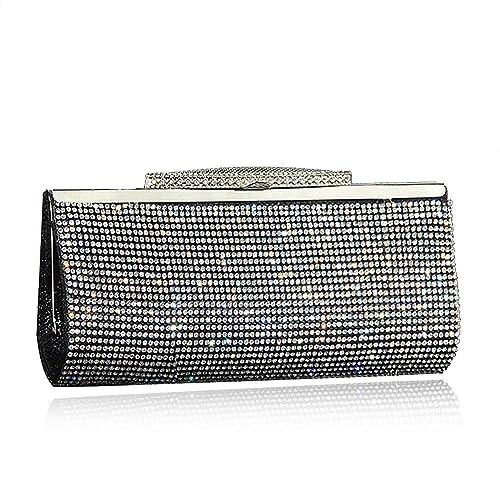 Fashion Womens Glitter Clutch Bag Crystal Diamante Sparkly Silver Gold Black  Evening Bridal Prom Party Handbag Purse (Black)  Handbags  Amazon.com cb6b226b76