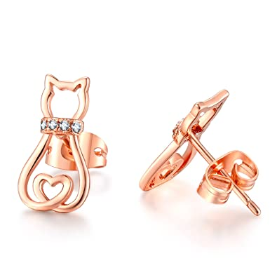 Rose Gold Cat Stud Earring with Love Heart gMoobSM
