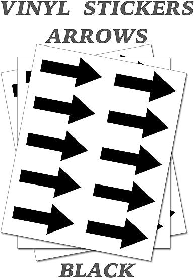 50 pegatinas con forma de flecha negra Auto Adhesivo Etiquetas de vinilo tamaño 20mm X 10mm