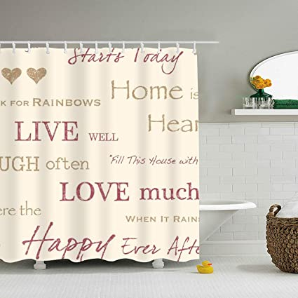 Image Unavailable Not Available For Color Dreamting Live Love Laugh Gold Sayings Home Decor Shower Curtain
