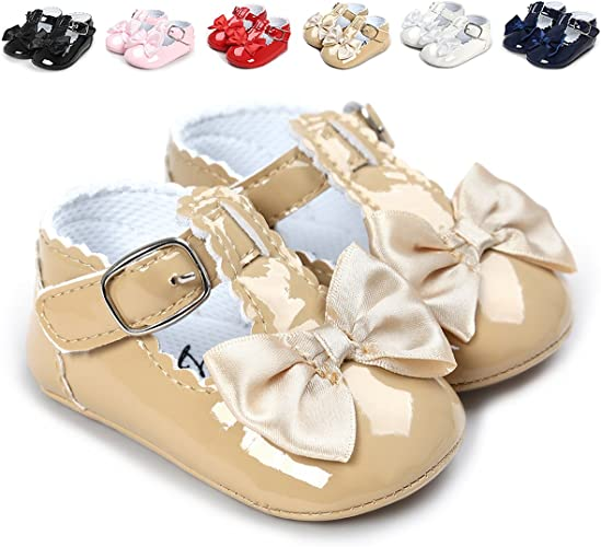 Meckior Infant Baby Girls Soft Sole Bowknot Princess Wedding Dress Mary Jane Flats Prewalker Newborn Light Baby Sneaker Shoes