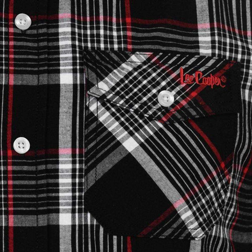 Black//White//Red Lee Cooper Mens S//S Checked Shirt