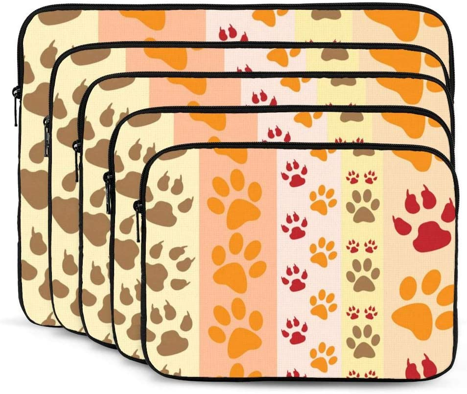 Colorful Paw Print Laptop Sleeve 17 inch, Shock Resistant Notebook Briefcase, Computer Protective Bag, Tablet Carrying Case for MacBook Pro/MacBook Air/Asus/Dell/Lenovo/Hp/Samsung/Sony