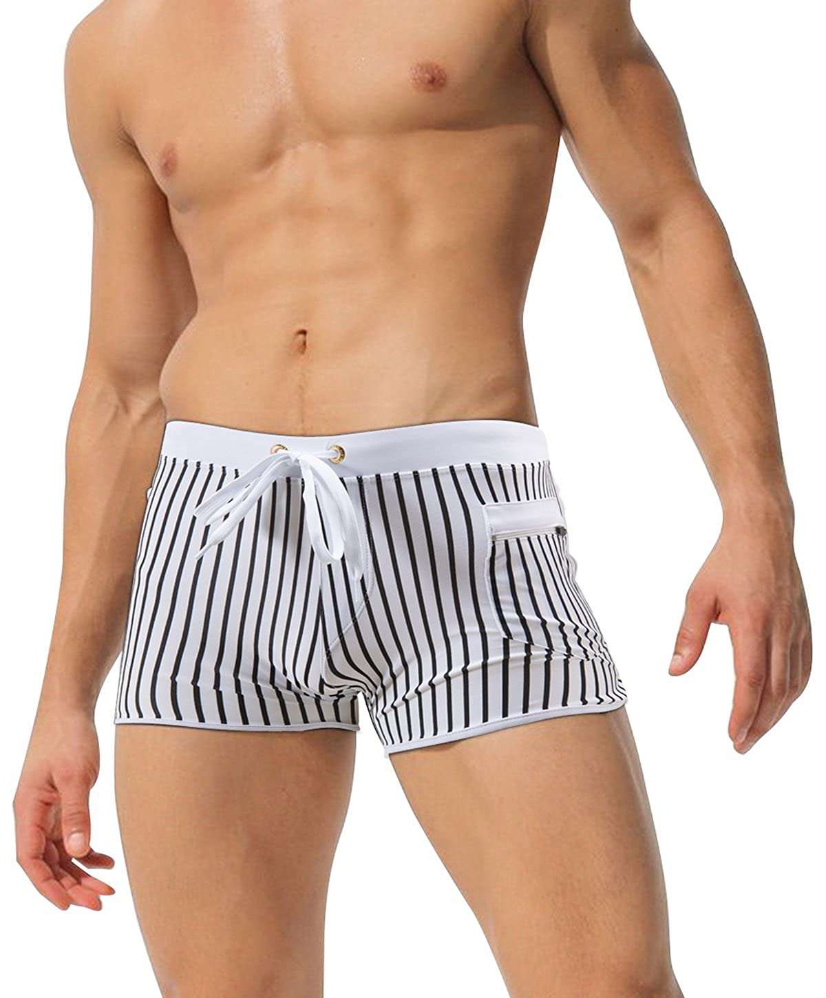 951a1b0ce7 Sexy front pockets zipper men\'s four angle swimming trunks, loose belts  and cord won\'t make you feel bad. Water repellent technology swim briefs,  dries ...