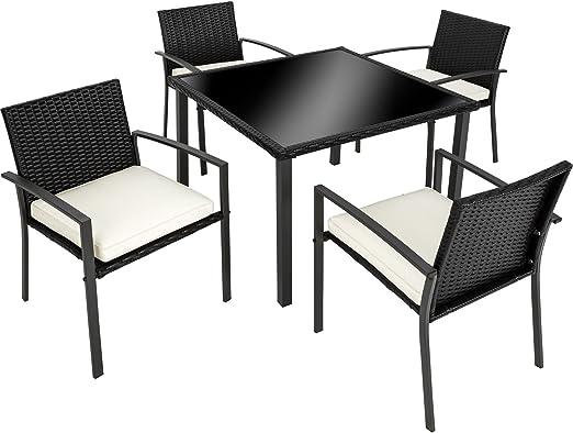 TecTake Conjunto muebles de jardín en ratán   4 sillas 1 mesa con ...
