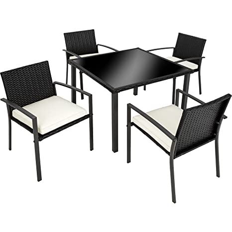 TecTake Conjunto muebles de jardín en ratán | 4 sillas 1 mesa con vidrio de seguridad