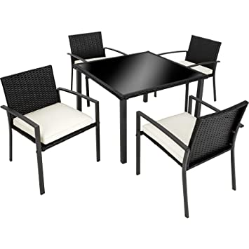 3c52ef6b58a6 TecTake POLY Rattan Aluminium garden furniture garden dining set 4 chairs  and 1 Table, stainless steel screws - different colors (Black | no.
