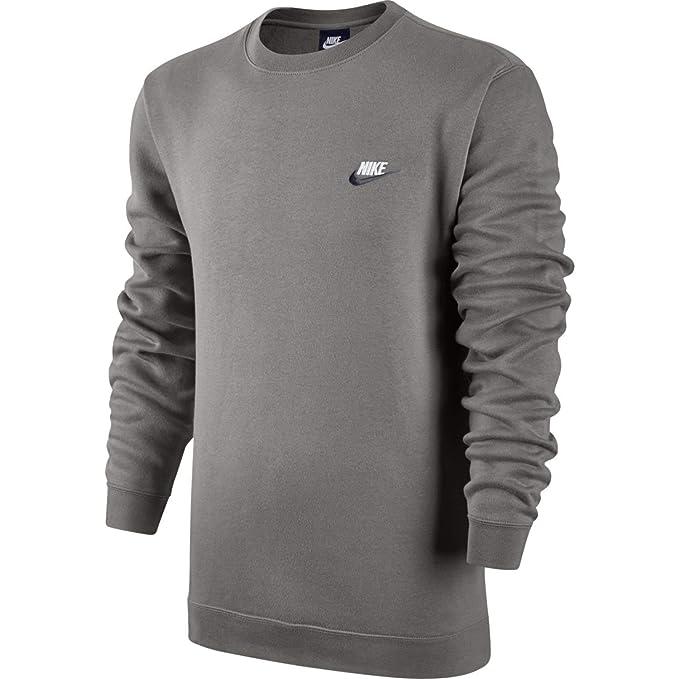 e49045ef565c NIKE Mens Sportswer Crew Fleece Club Sweatshirt Grey Heather Dark  Obsidian White 804340-067 Size 2X-Large  Amazon.co.uk  Clothing
