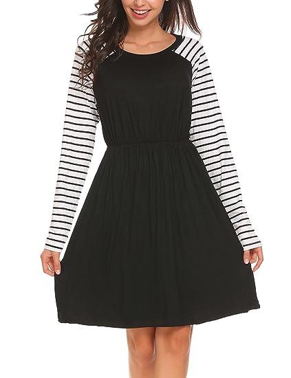 28b1c7b111 ELESOL Women Casual Striped Long Sleeve Elastic Waist A-Line Knee Length  Dress Black S