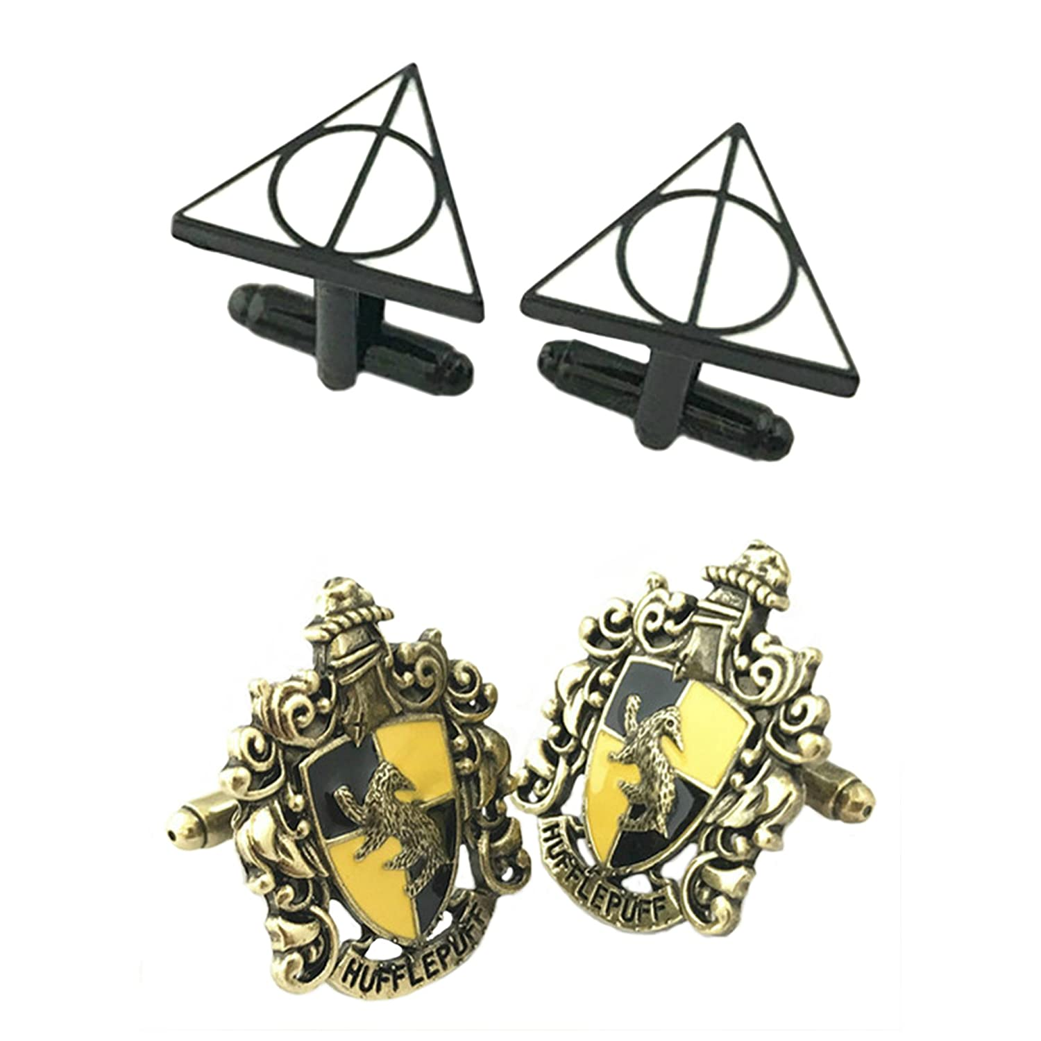 Outlander Gear Harry Potter 2 Pairs Deathly Hallows & Hufflepuff Crest Superhero 2018 Movie Mens Boys Cufflinks