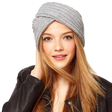 Butterme Warm Crochet Casual Turban Cross Bohemian Indian Style Head Wrap Cap para Mujer Chicas(