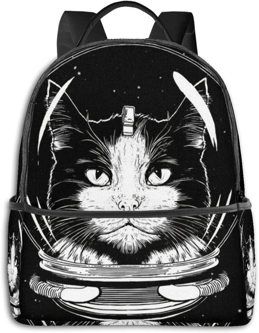 Black Space Cat Art Painting Multi-Functional College Bags Students High School Girls Casual Daypack Kids Travel Backpack School Laptop Bookbags Teens Boy Outdoor Accessories