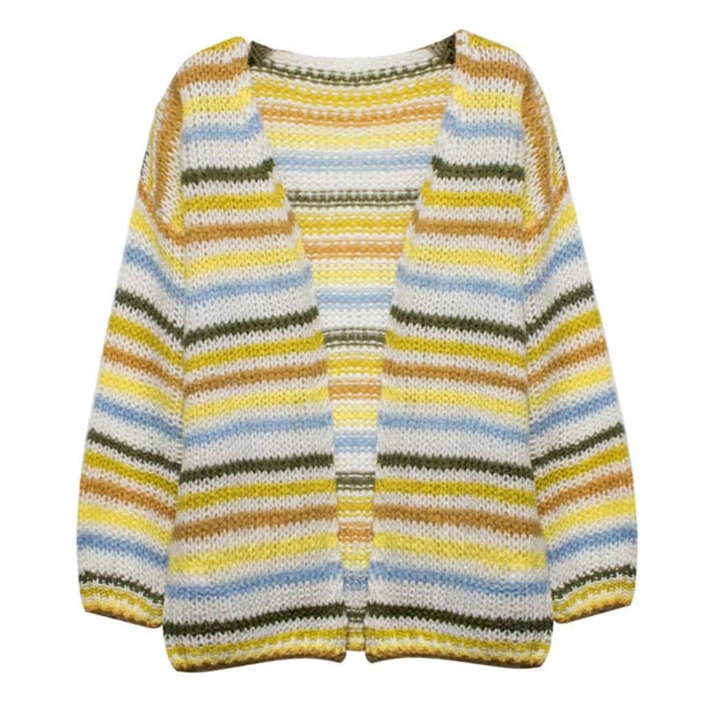 Huacat Damen Strickpullover gestreifte N/ähte Pullover l/ässig lose weichen Pullover Winter warme Strickjacke Mantel