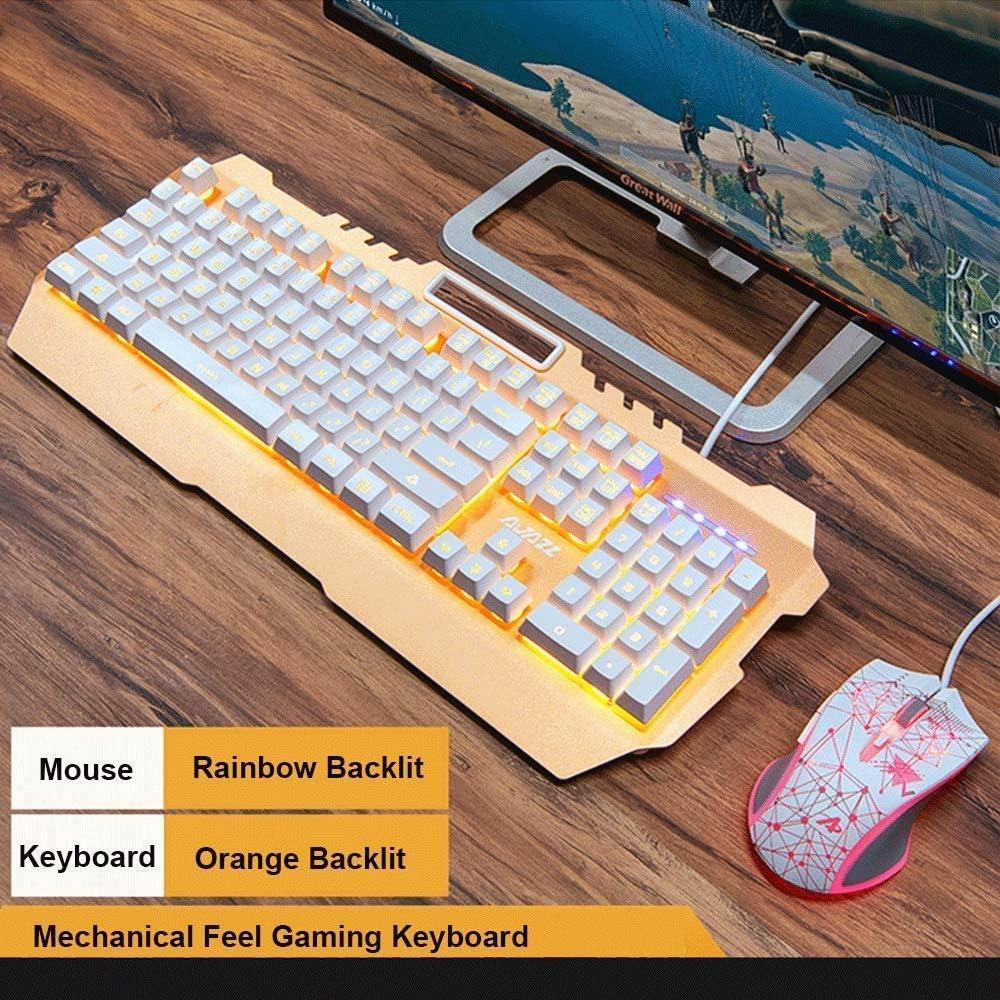 GSUMMER Gaming Keyboard Set Gaming Gaming Manipulator Backlit Metal Ergonomic Wired USB Keyboard//Backlit Mouse Daily Leisure//Game
