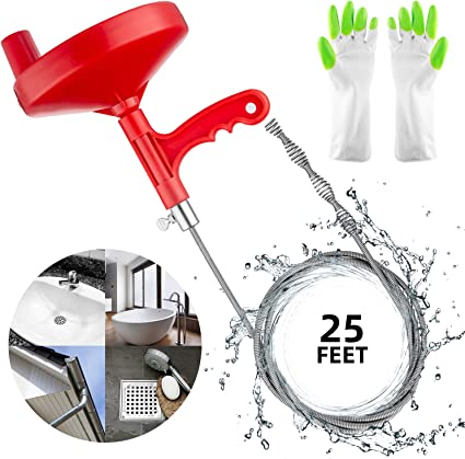 Amazon Com Oriflame 25 Feet Plumbing Snake Drain Auger Sink Snake Pipe Drain Cleaner For Bathroom Kitchen Sink Shower Drain Come With Gloves Health Personal Care