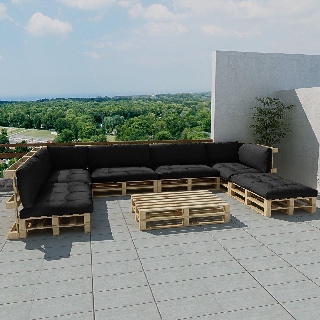 vidaXL 21-tlg. Außen Lounge Set aus Holzpaletten mit 13 Kissen grau