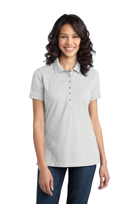 Port Authority® Ladies Stretch Pique Polo. L555 White 4XL: Amazon ...