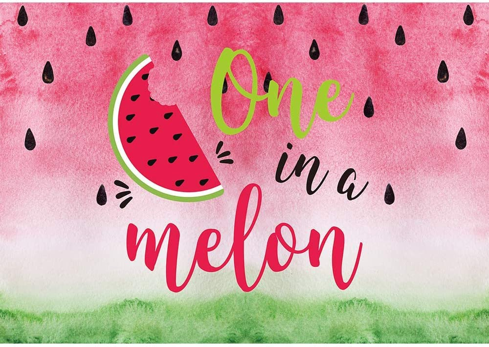Allenjoy 7x5ft One in a Melon Watermelon Backdrop for Kids Girls 1st Birthday Party Infant Newborn Baby Shower Photography Background Summer Twotti Frutti Party Banner Cake Table Decors Photo Props