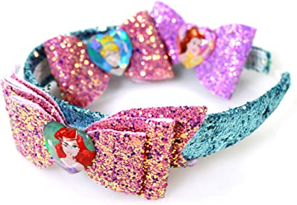 Sparkly Bows Hair clipHeadbands Glitter Hair Bows Set of 3 Blue Hair ClipHeadband Set Pink Hair clipHeadbands Frozen Inspired Bow Set