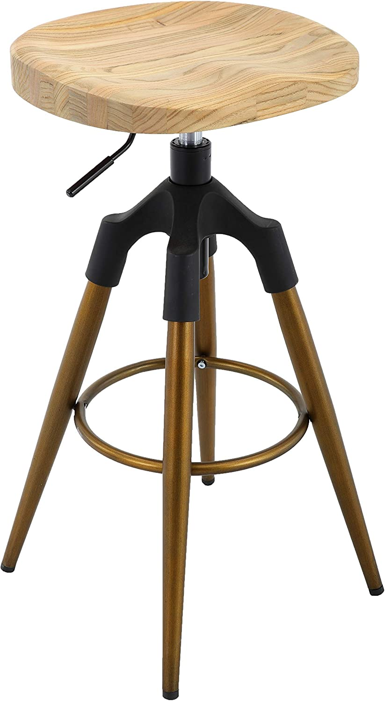 Brage Livng Four-Legged Adjustable Height Barstool Bronze